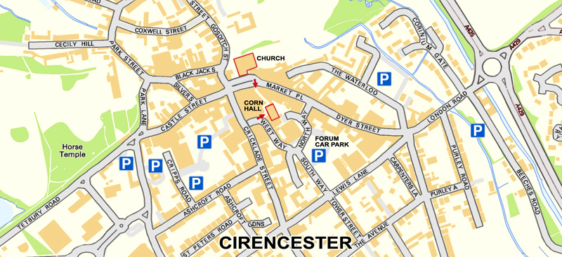 Corn Hall location, Cirencester
